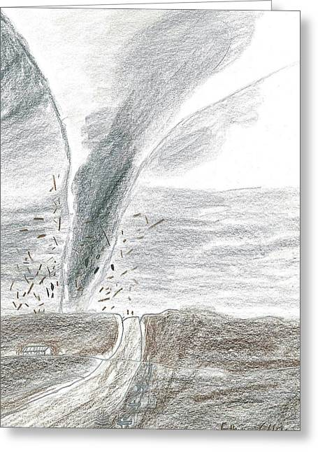 Greeting Card featuring the drawing F3 Torrnado Tearing Across The Plains by Fred Hanna