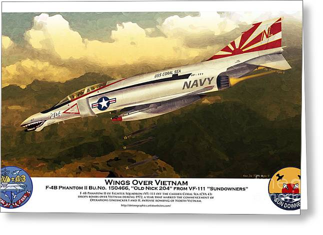 F4-phantom Wings Over Vietnam Greeting Card by Kenneth De Tore