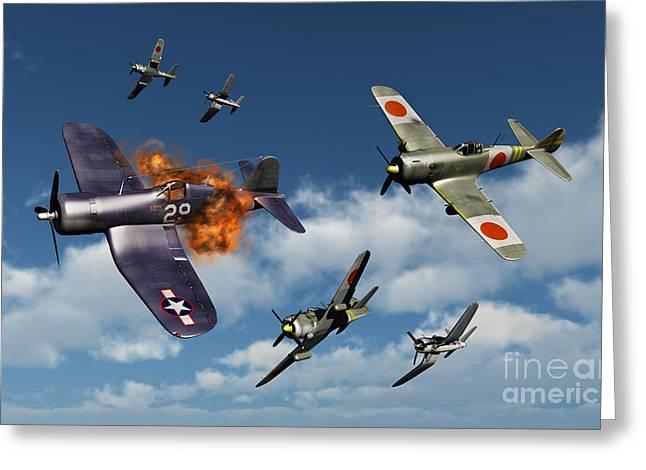 F4u Corsair Aircraft And Japanese Greeting Card