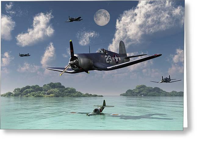 F4u Corsairs Flying Over A Shot Greeting Card by Mark Stevenson