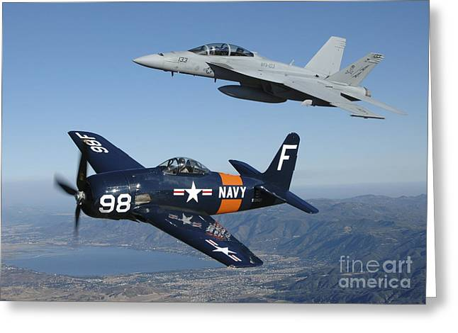 Fa-18 Hornet And F8f Bearcat Flying Greeting Card by Phil Wallick