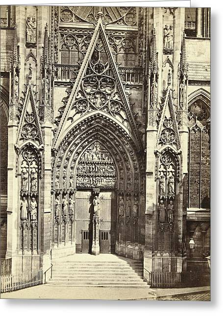 Façade Of Notre Dame In Rouen France, Anonymous Greeting Card