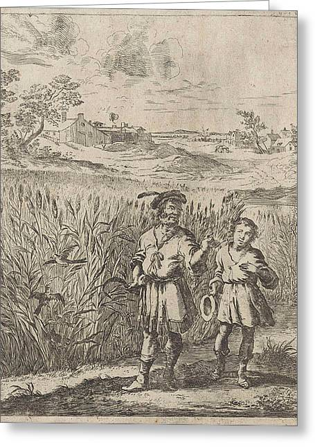 Fable Of The Lark And Her Boy, Print Maker Dirk Stoop Greeting Card by Dirk Stoop And John Ogilby