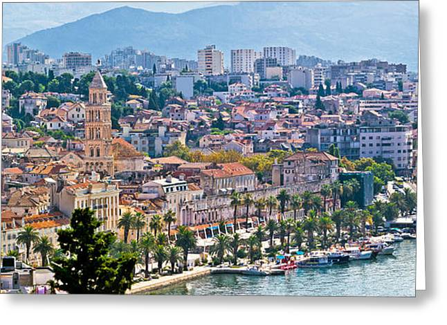 Fabulous Split Waterfront Aerial Panorama Greeting Card