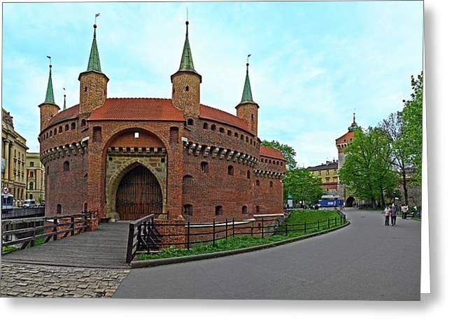 Facade Of A Barbakan Fortress, Krakow Greeting Card