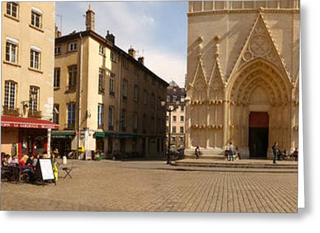 Facade Of A Cathedral, St. Jean Greeting Card by Panoramic Images