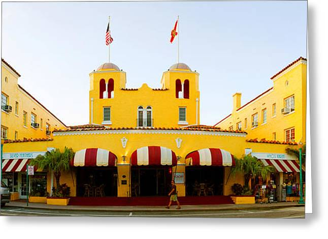 Facade Of A Hotel, Colony Hotel, Delray Greeting Card by Panoramic Images