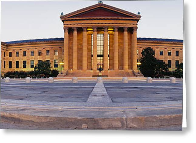 Facade Of A Museum, Philadelphia Museum Greeting Card by Panoramic Images