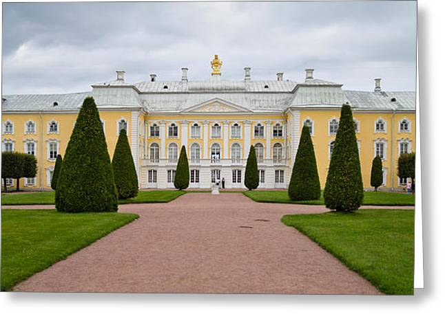 Facade Of A Palace, Peterhof Grand Greeting Card by Panoramic Images