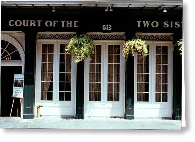Facade Of A Restaurant, Court Of Two Greeting Card by Panoramic Images