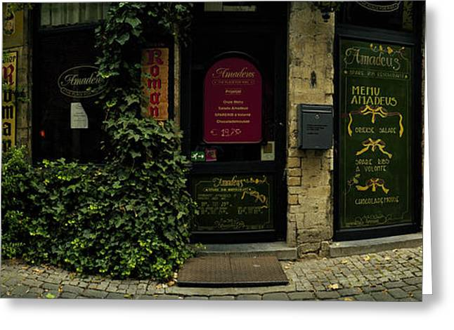 Facade Of A Restaurant, Patershol Greeting Card by Panoramic Images