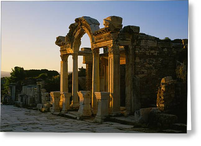 Facade Of A Temple, Hadrian Temple Greeting Card by Panoramic Images