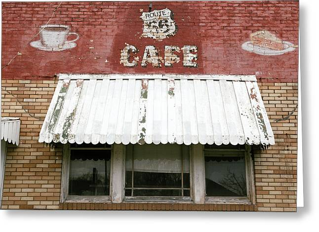 Facade Of An Abandoned Cafe Greeting Card by Julien Mcroberts