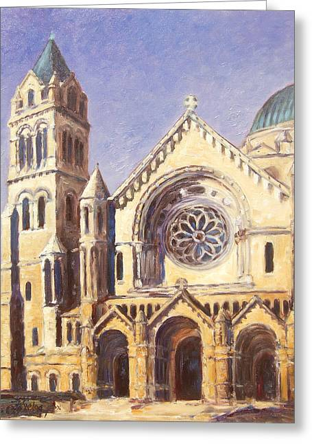 Facade Of Cathedral Basilica In St.louis Greeting Card