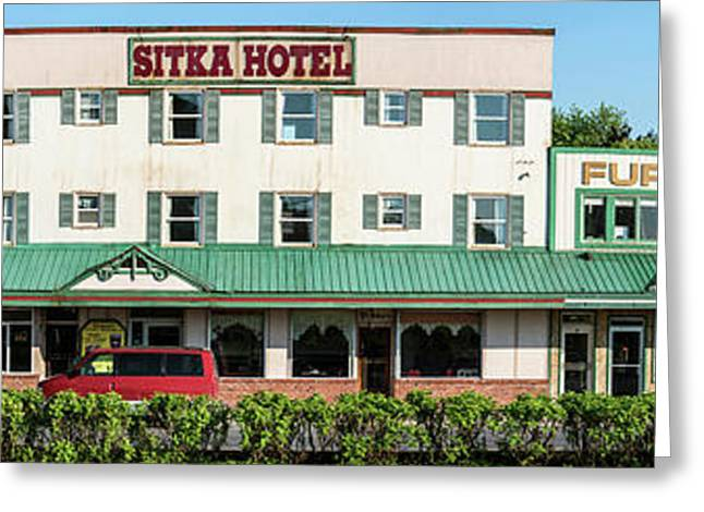 Facade Of Sitka Hotel, Lincoln Street Greeting Card by Panoramic Images