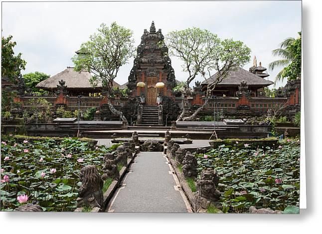 Facade Of The Pura Taman Saraswati Greeting Card by Panoramic Images