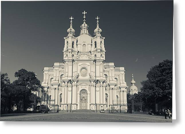 Facade Of The Smolny Cathedral, Smolny Greeting Card by Panoramic Images