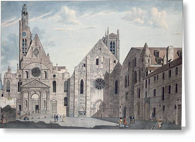 Facades Of The Churches Of St Genevieve And St Etienne Du Mont Greeting Card by Angelo Garbizza