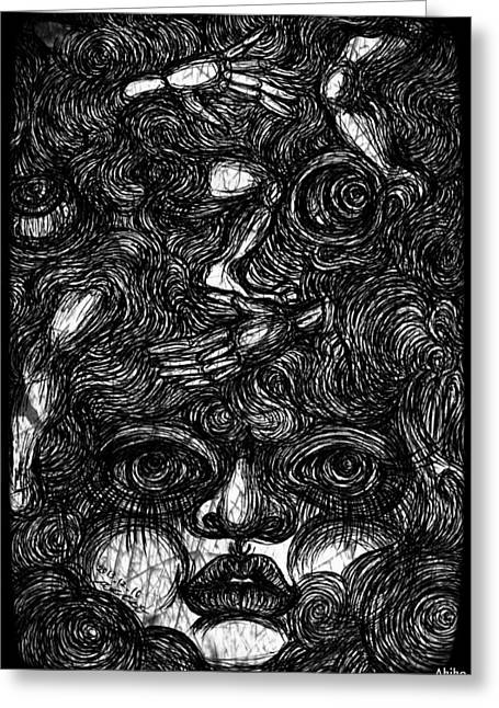 Face And Etc Greeting Card by Akiko Okabe