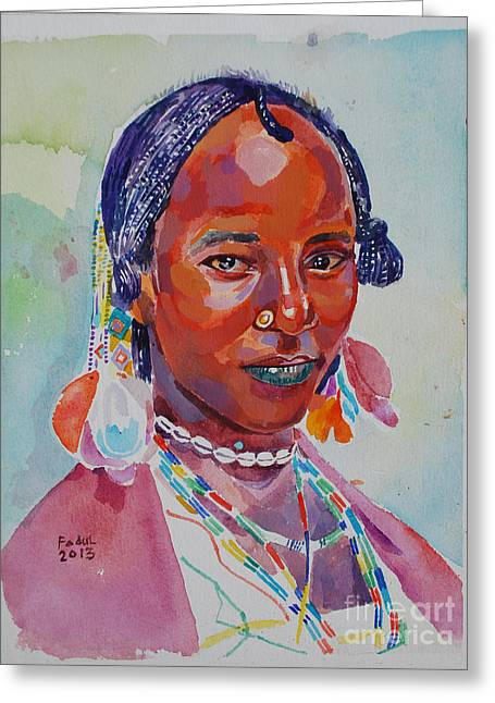 Face From Sudan  2 Greeting Card by Mohamed Fadul