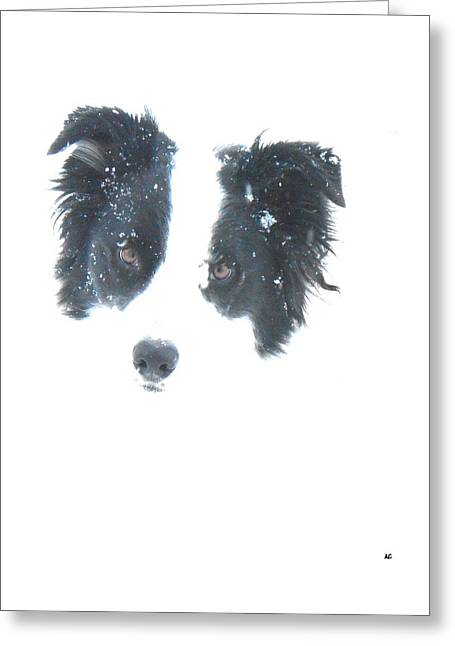 Greeting Card featuring the digital art Face In The Snow by Aliceann Carlton