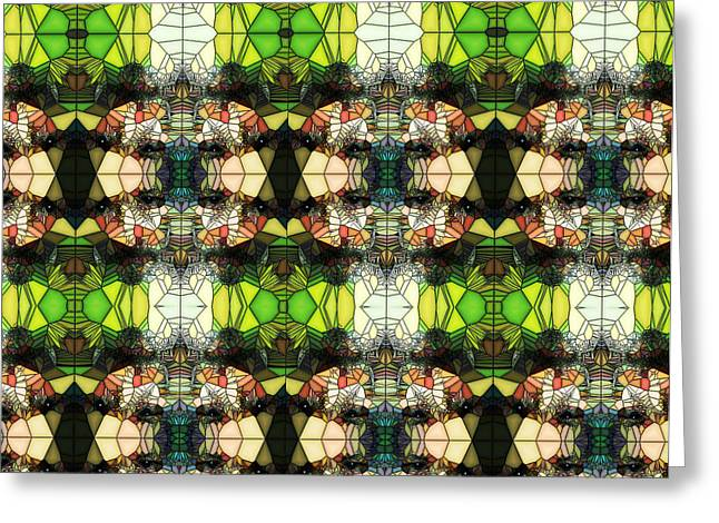 Greeting Card featuring the photograph Face In The Stained Glass Tiled by Clayton Bruster