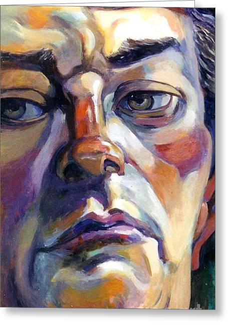 Face Of A Man Greeting Card by Stan Esson