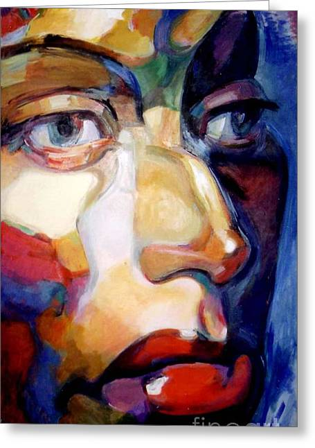 Face Of A Woman Greeting Card by Stan Esson