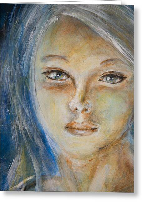 Greeting Card featuring the painting Face Of An Angel by Nik Helbig