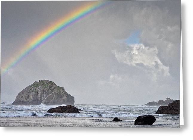 Greeting Card featuring the photograph Face Rock Rainbow by Kevin Munro