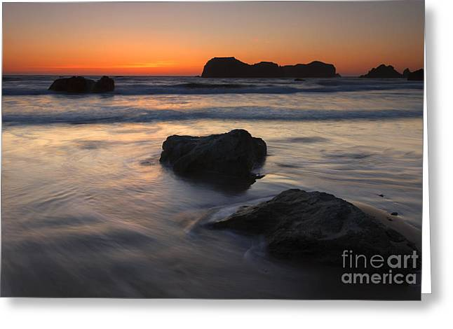 Face Rock Sunset Greeting Card by Mike Dawson