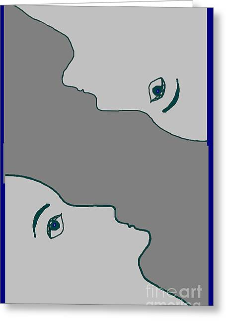 Face To Face Greeting Card by Meenal C