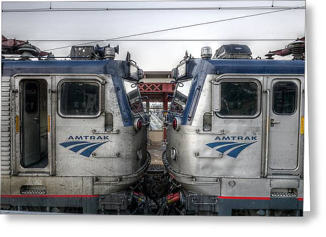 Face To Face On Amtrak Greeting Card by Richard Reeve