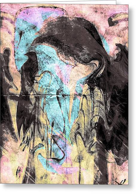 Faceless Girl With Her Crow Greeting Card by Linda Sannuti
