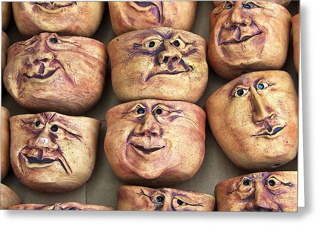 Faces Greeting Card by Art Block Collections