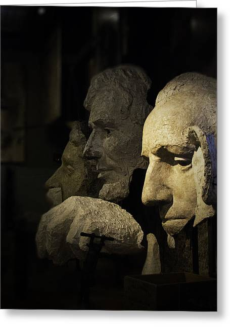 Faces Of Rushmore Greeting Card by Judy Hall-Folde