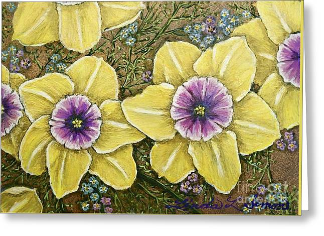 Faces Of Spring    Greeting Card by Linda Simon