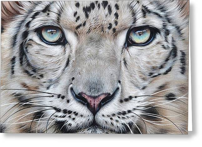 Faces Of The Wild - Snow Leopard Greeting Card