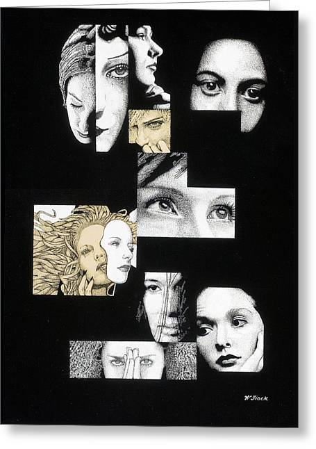 Faces Greeting Card by Wendell Fiock