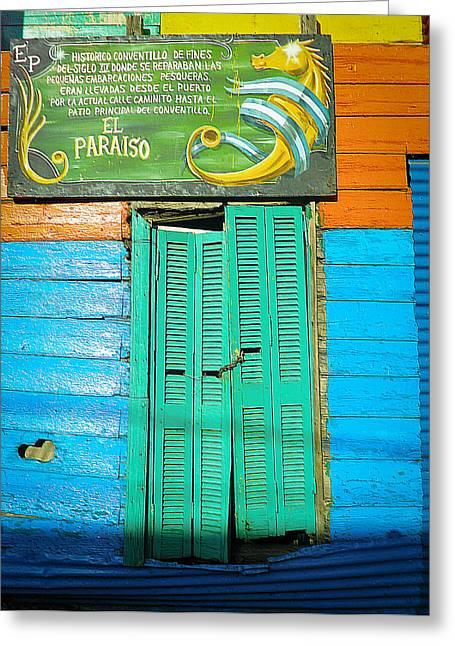 Greeting Card featuring the photograph Fachada De Conventillo by Silvia Bruno