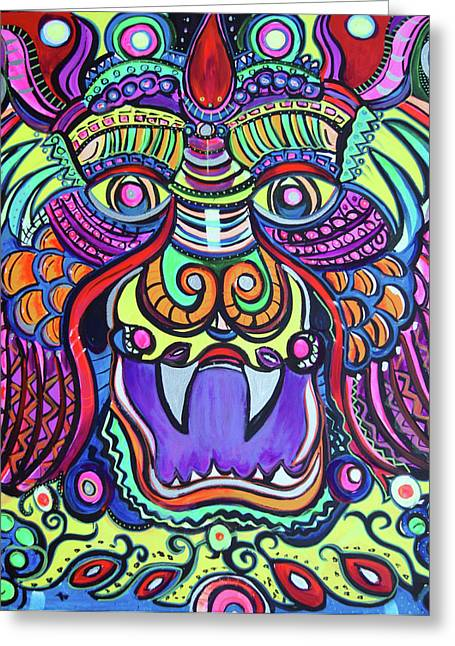 Facing The Dragon Greeting Card by Lorinda Fore and Tony Lima