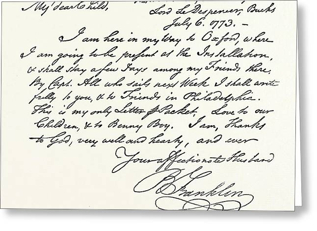Facsimile Of A Letter From Benjamin Franklin Greeting Card by English School