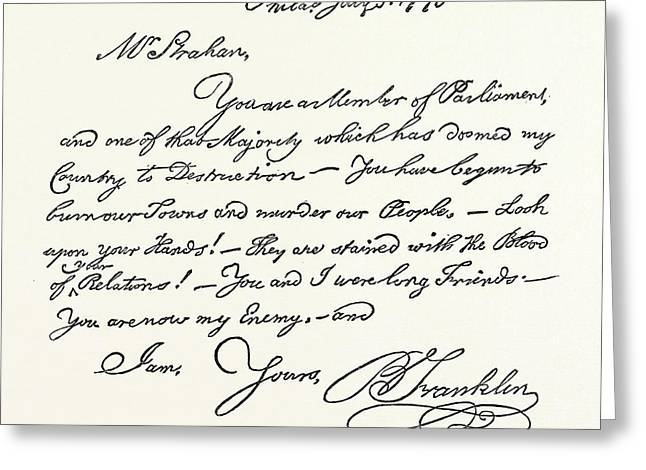 Facsimile Of A Letter From Benjamin Franklin To Mr Greeting Card by English School