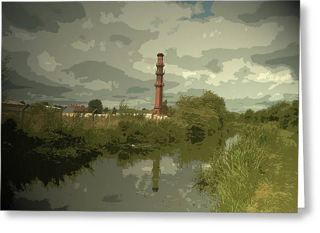 Factory Chimney By The Erewash Canal, Another Piece Greeting Card by Litz Collection