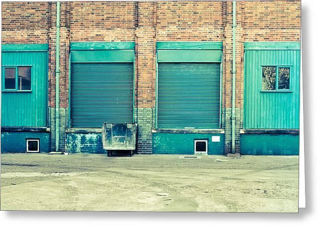 Factory Doors Greeting Card by Tom Gowanlock