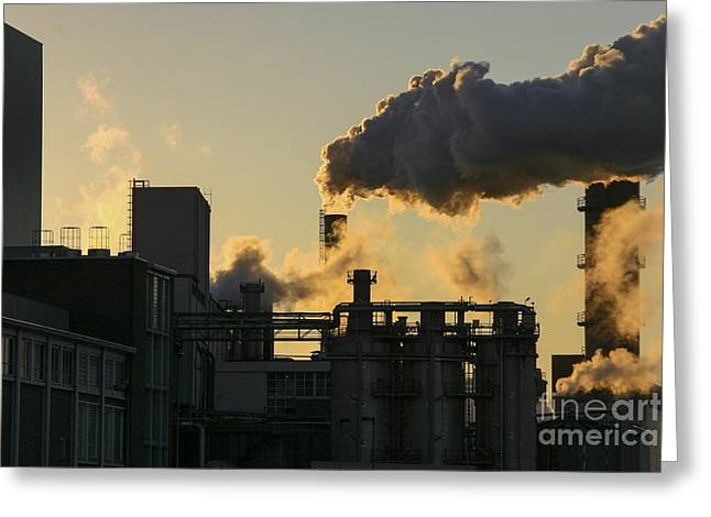 Factory Fumes Greeting Card
