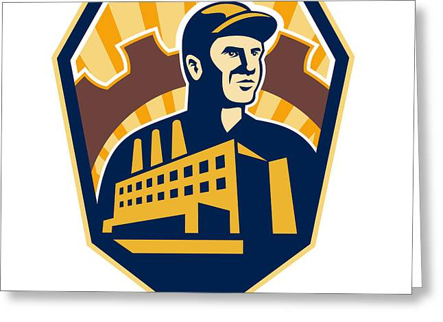 Factory Worker Building Cog Shield Retro Greeting Card by Aloysius Patrimonio