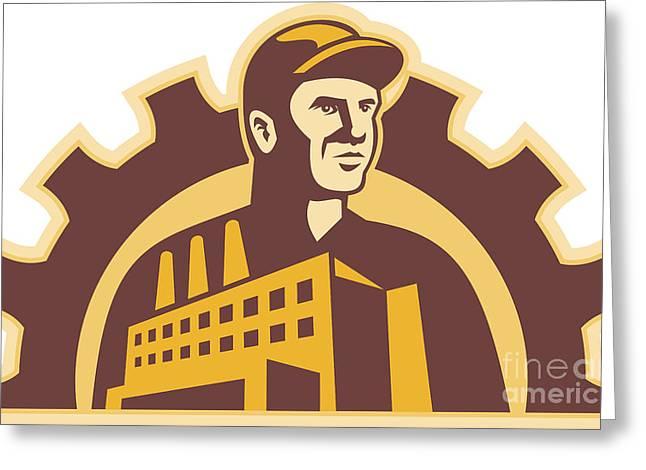 Factory Worker Building Gear Cog Retro Greeting Card by Aloysius Patrimonio