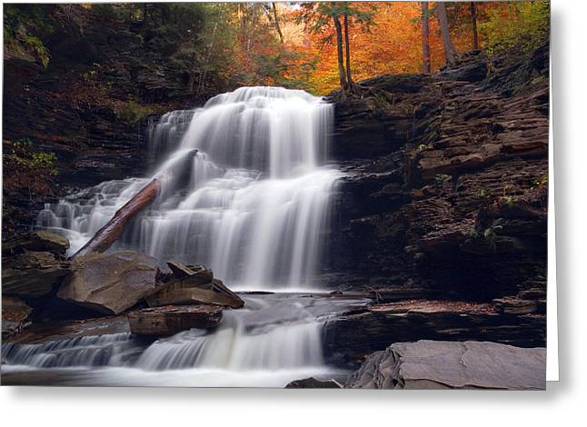 Fading October Daylight On Shawnee Falls Greeting Card