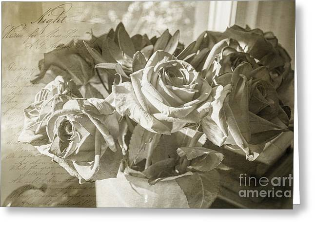 Fading Roses Greeting Card by Terry Rowe